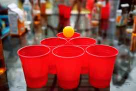 ball beer beer pong close up
